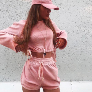Длинные рукава футболки Шорты Famale Одежда женская Вельвет повседневные костюмы Проектировщик Solid Color Flare Sleeve кулиской