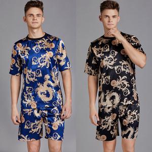Летние мужчины атласные шелковые пижамы пижамы наборы футболок шорты Мужские пижамы пижамы досуг домашняя одежда Дракон письмо мужской Loungewear