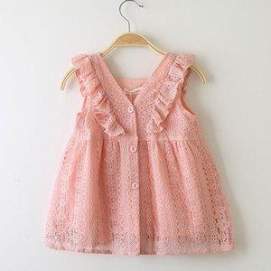 Venta al por menor 2019 Girls Lace Lotus Leaf Princess Dress Baby Kids boutique Cosplay Verano con cuello en V Botón Vestidos de cumpleaños niña ropa de diseñador