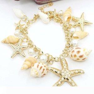 moda Okyanus Stil Çoklu Denizyıldızı Sea Star Conch Shell Simüle-İnci Zinciri Plaj Bileklik Bileklik
