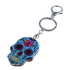 보헤미아 해골 키 체인 5 색 할로윈 아크릴 열쇠 고리 해골 금속 펜던트 키 체인 할로윈 패션 액세서리 LJJA3332