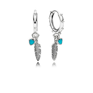 Turquoise Hearts & Feather Hoop Earrings High quality Box Fashion 925 Sterling Silver Women Gift Jewelry EARRINGS sets