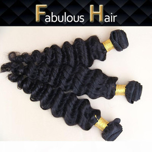 Fabulous Best Quality Hot Selling 8-24inch Unprocessed Virgin Deep Wave Peruvian Hair Weft Natural Color Hair Weaves Cheap Human Hair