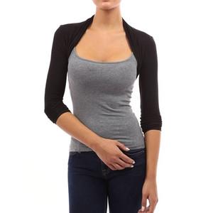 Sonbahar Kadın Shrug Kısa Hırka Günlük Moda Uzun Kollu Kazak Stretchy İnce Açık Dikiş Hırkalar Shrugs 2579 T191019 Tops