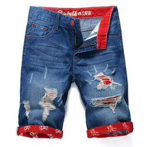 Al por mayor de los hombres del verano sueltan los pantalones vaqueros cortos de mezclilla Pantalones de los hombres Short Jeans Pantalones ocasionales de la manera de los hombres de los pantalones vaqueros con agujeros más el tamaño 3 Estilo