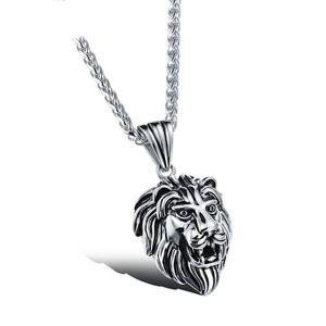 Mode Hip Hop Schmuck Krone Löwenkopf Anhänger Iced Out Klar Strass Kandare Kubanische Kette Edelstahl Halskette