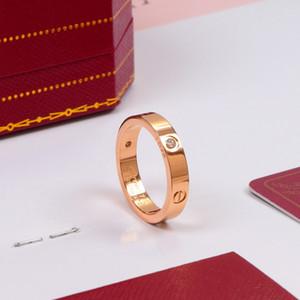 Titanium al por mayor del acero inoxidable de los anillos de amor para Finger Parejas Mujeres Hombres lujo de la joyería Cubic Zirconia anillos de boda de Femme