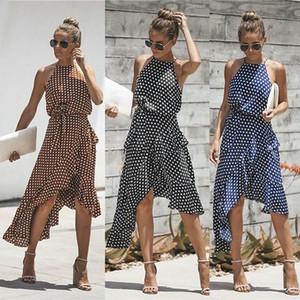 Sommer neue Art und Weise der Frauen Kleid Polka-Punkt-geschnürt unregelmäßiges Kleid plus Größe S-3XL