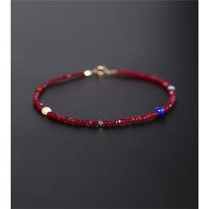 DMBS077 Ruby Bracelet Women's Day Genuine Ran Yellow 18K Gold Beeswax Spinel Quartz Bracelet