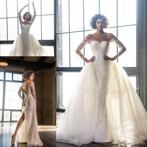2021 Full Lace Sheath Wedding Dresses with Detachable Train Tulle Skirts Sheer Neck Backless Back Split Long Sleeves Bridal Wedding Gowns