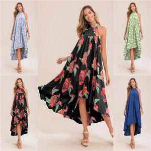 Verano de las mujeres diseño de impresión vestido sin mangas y espalda abierta cabestro irregular oscilación impresión de la moda vestido