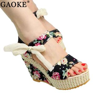 Shoes Women 2020 Summer New Sweet Flowers Buckle Open Toe Wedge Sandals Floral high-heeled Shoes Platform Sandals Y200702