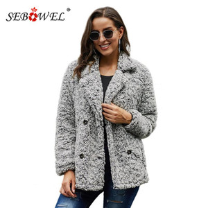 SEBOWEL Kış Kadın 2020 Kadın Casual Cep Kalın Kabarık Palto Giyim S-XXL için Teddy Rahat Yumuşak Peluş Jacket Coats Isınma