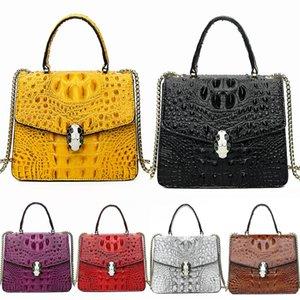 Lucdo Brand Women Leather Crocodile Shoulder Bag Mini Small Rivet Geometric Bag Designer Ladies Aligator Evening Clutch Messenger Bag Sac#327