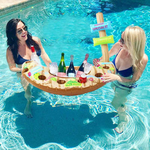 Inflatable Boat Beer Ice Bucket Cooler Swimming Pool Float Inflatable Cup Holder Drink Holders Stand
