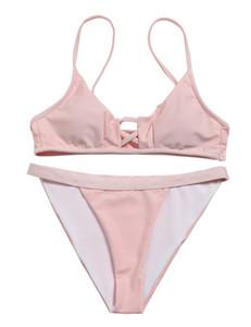 2019 women Bikini New Split Swimming Suit with Triangle Ribbon Pure Sexy Bikini,Cheap swimming Sports swimwear flexible stylish