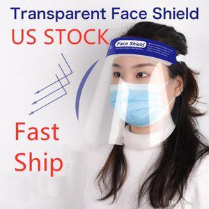 Máscara de los EEUU Stock transparente protectora de aislamiento anti-niebla careta de protección de la cara llena evitar salpicaduras Las gotas de seguridad de protección del visor
