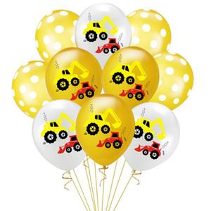 10pcs 12inch Birthday Party Escavadeira Detalhes no Latex Balões Bulldozer balões coloridos Confetti Baby Shower Hélio Ballon