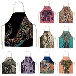 1pcs Elephant Motif Tabliers de cuisine unisexe coton lin Bibs Home Cooking Baking Café Accessoire nettoyage 53 * 65cm MA0010