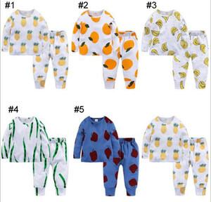 INS New Baby Boy Girl Pyjamas Kleidung Sets 100% Baumwolle Langarm Cartoon Ananas Banane Orange Print Boy Set Sommer Boy Girl Casual Set