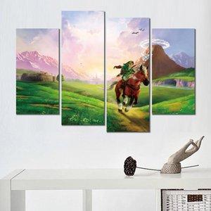 4 Pcs / Set Canvas 인쇄 거실 장식을위한 회화 시간 그림의 zelda 오카리나의 전설