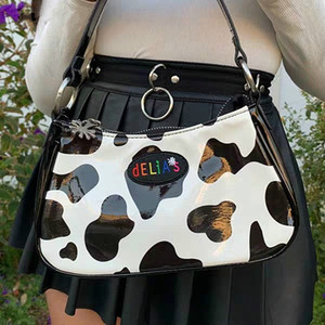 Harajuku PU bolso del Baguette Kawaii dulce linda del modelo de la vaca del punto bolso de la alta calidad mini axilas bolsa axilar bolsa