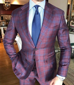 Men's Wool Classic Formal Windowpane Wedding Suits 2 Pieces Groom Wear Business Office Check Tuxedos Prom Party Blazer(Jacket+Pants)