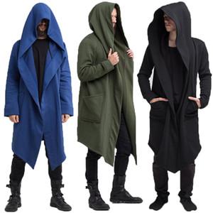 Mode Hommes Trench-Coat Hoodies Streetwear À Capuche Long Survêtement Style Punk Casual Hommes Femmes Manteau Veste Sweat Hiver 3XL