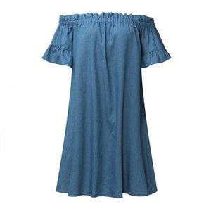Женская одежда Женская платье Линия платье Повседневный Off плеча Бардо Джинсовые рубашки платья Топы Sexy Слэш шеи платья 2019 D0435