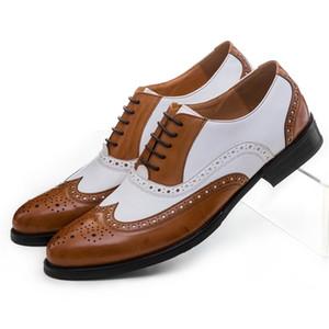 Черный Белый / Коричневый Белый Mens Свадебная обувь из натуральной кожи платье обувь мальчиков Формальные Пром обувь