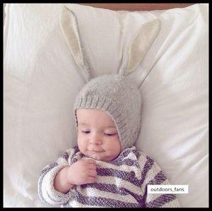 handmade long ear rabbit wool Baby warm children's knitted hat