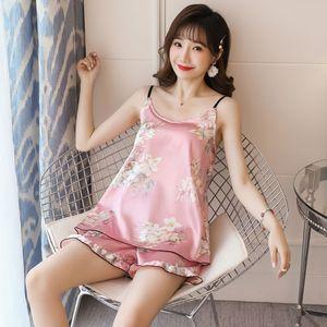 Women Ice Silk Pajamas Set Padded Sling Tops Ruffle Shorts Fruit Print Sleepwear 63HC