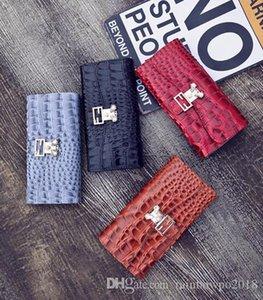 mode crocodile lignes longue Europe Europe portefeuille en cuir verni perle décoration tendance joker portefeuille en cuir à la main