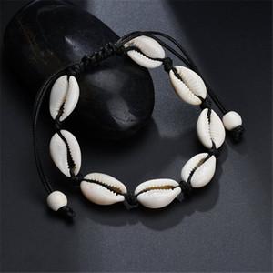 Nueva joyería boehmian multi color cuerda de cuero pulsera de cadena para las mujeres de moda de verano pulseras de concha natural