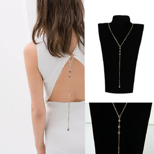 Crystal Back Chain Necklace Sexy Women Lady Girls Bikini Beach Crossover Back Jewelry Summer Beach Wedding Back Dress Accessories