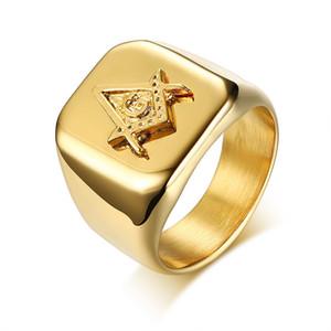Alta polido 316 de aço inoxidável 18 k chapeamento de ouro dos homens maçons itens maçônicos regalia anéis jóias barato por atacado