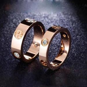 Titane argent anneaux à vis d'amour en acier rose fiançailles en or Anneaux pour les femmes et les hommes bijoux bague concepteur couple de 4 mm / largeur 6 mm