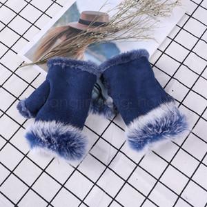 Luvas 20styles Suede sem dedos luvas populares manter a mulher impresso luvas metade do dedo inverno leopardo quente ao ar livre luvas sem dedos FFA3082