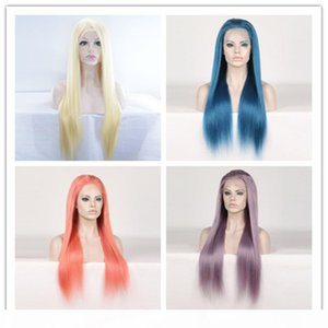 Long Colorful Human Hair wigss 13x4 Lace Frontal wigss Pre-plucked With Baby Hair 130% Density Peruvian Remy Straight wigss Purple Blue