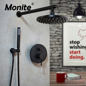 Muro monite 8 Inch Matte Black Rodada Modern Rainfall Montada Banheiro torneira do chuveiro Sets Duche Chuveiro Mão Set T200612