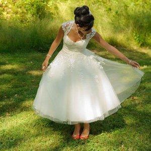 Sexy Beach Tea Lengh Wedding Dresses Uk A Line Lace Short Boho Wedding Dress 2020 Cheap Country Garden Summer Bohemian Bridal Gowns Cheap