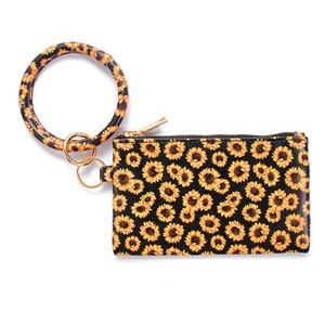 Keychain Pulseira carteira de couro borla pendente Bolsa Celular Bolsa Leopard Sunflower Imprimir Pulseira Zipper Key Bag Ladies Saco do presente A03