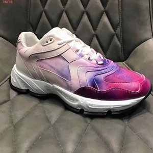 new Rose pink and blue leather and knitted fabric graffiti design decorative fashion High-end atmosphere Super light rubber sole