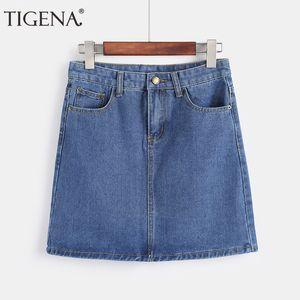 Tigena Mini Denim Jupe Femme 2019 Eté Coréen Mode Taille Haute Crayon Jupe Femme Noir Blanc Bleu Jeans Jupe Avec Poche Y19043002
