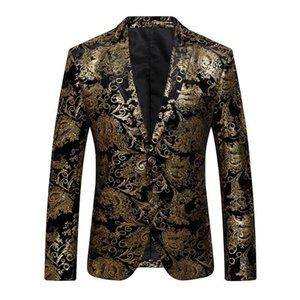 2018 New Male Floral Jacket Suit Mens Blazers Fashion Single Button Suits Slim Fit Party Blazers Plus Size M-4XL
