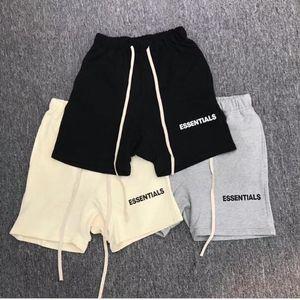 Moda-Mens High Street cintura elástica pantalones cortos mujeres Hip Hop Essentials imprimir pantalones amantes Cutton Color sólido Casual pantalones