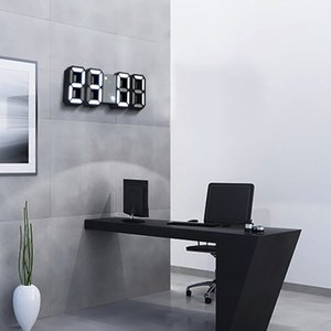 Reloj digital 3D LED Reloj de pared Pantalla digital Mesa electrónica Horloge Alarm Nightlight Watch para la decoración de la oficina en casa