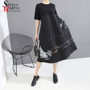 * New 2020 Korean Style Women Summer Black Printed Dress Short-Sleeve O Neck Mesh Join Ladies Midi Casual Wear Robe 6126