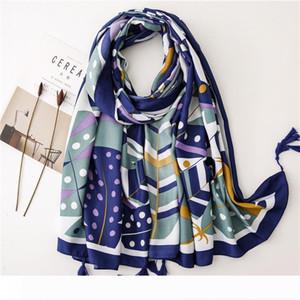 Les femmes coton de l'été de la mode châle pompon d'impression géométrique écharpe automne printemps vacances plage Serviette écran solaire Wraps Accessoires