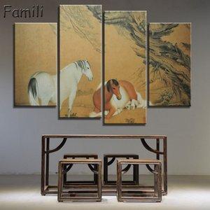 4 pezzi dipinti di paesaggio cinese e china boat tela immagini vintage home decor sulla parete arte decorativa per soggiorno